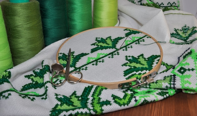 The process of cross stitch products wooden hoop