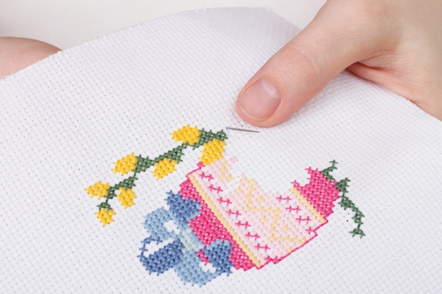 The process of cross stitch still life to easter. egg and willow branches