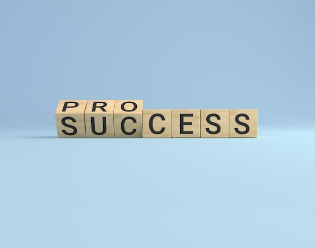 成功コンセプトのプロセス。木製の立方体ブロックは、青いスタジオの背景で成功するために単語のプロセスを裏返します。ビジネスコンセプト。