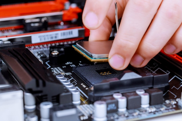The process of installing in cpu microprocessor to motherboard socket