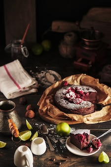 The process of making chocolate cake with cherry tasty and beautiful french dessert clafoutis