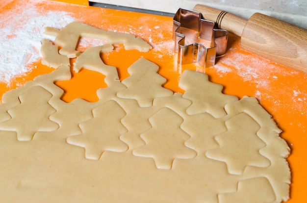 The process of making cookies and christmas gingerbread.