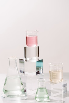 Process of making perfumes.  laboratory experiment ingredient extract for natural beauty and organic cosmetic product