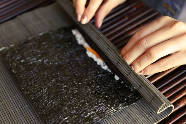The process of making sushi and rolls