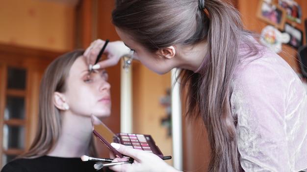 Процесс изготовления макияжа. визажист работает с кистью на лице модели