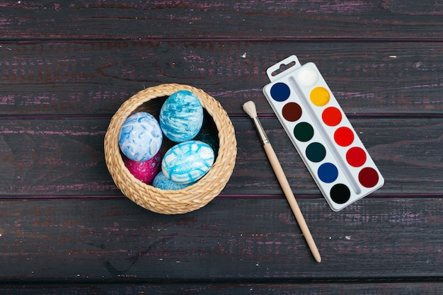 Process of painting easter eggs. preparing for easter.