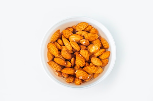 Process of soaking various nuts: almonds in water to activate
