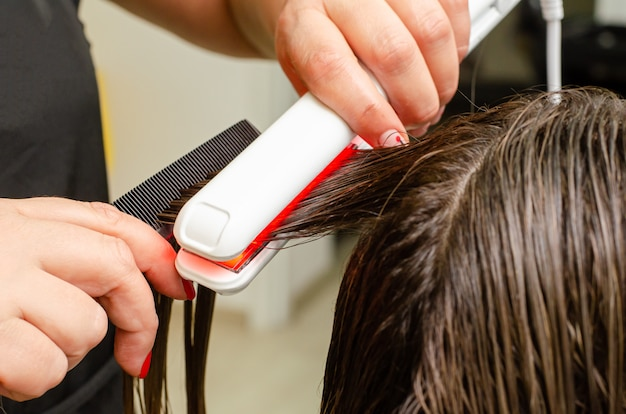 Process of ultrasonic and infrared cold iron hair care treatment