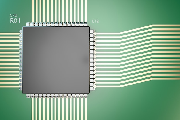 The processor on the board. close-up