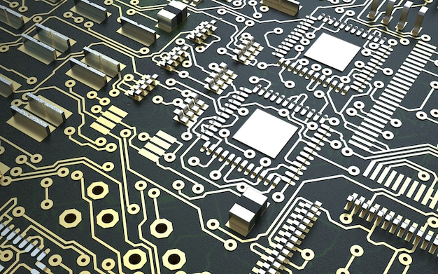 인쇄 회로 기판의 프로세서 칩. 3d 렌더링. 기술 개념