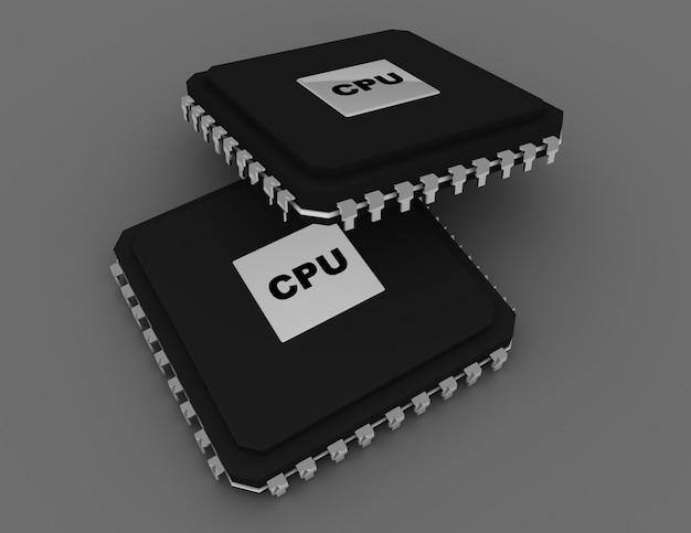プロセッサユニットの概念。 3dレンダリングされたイラスト