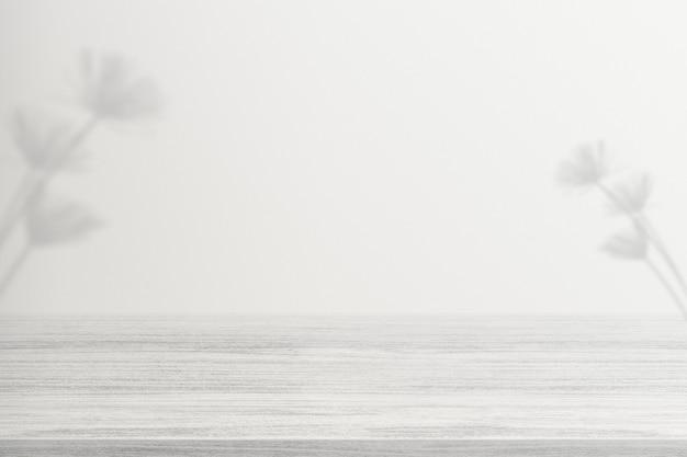 제품 배경, 빈 흰색 나무 바닥에 꽃 그림자