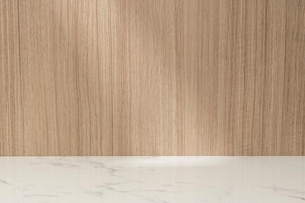 Prodotto sullo sfondo in marmo chiaro mensola in legno giapponese
