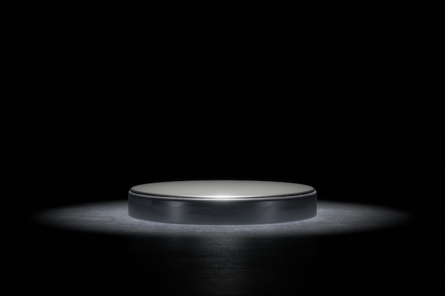 Product background stage or podium pedestal on grunge street floor with glow spotlight and blank