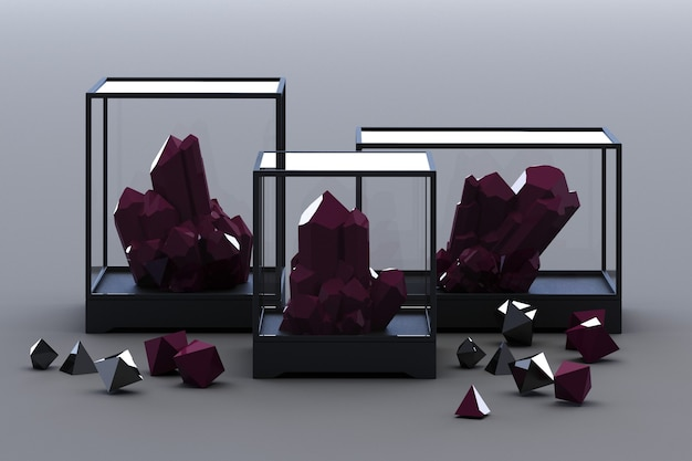 Product of black mineral formation, minerals, quartz, gems, diamonds. 3d rendering