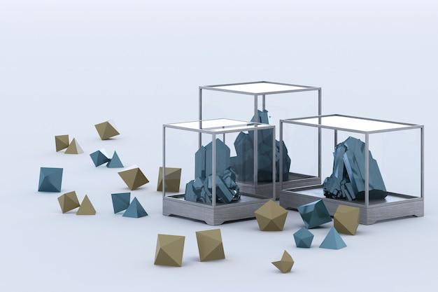 Product of blue mineral formation, minerals, quartz, gems, diamonds. 3d rendering