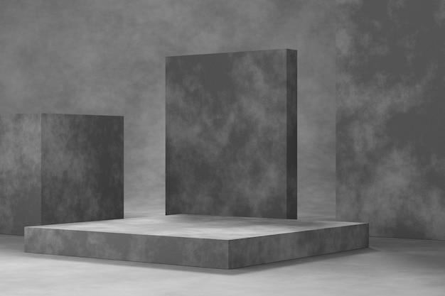 시멘트 질감의 제품 디스플레이 디자인. 3d 렌더링.