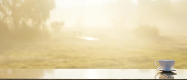Дисплей продукта на столешнице с кофейной кружкой, вид на природу с утренним солнечным светом на заднем плане, 3d-рендеринг, 3d иллюстрация