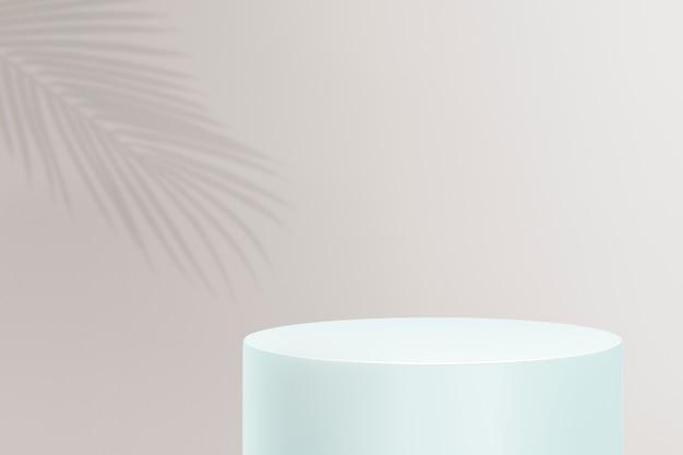 パステルカラーの背景に雲と製品ディスプレイ表彰台3dpsd