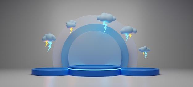 製品のディスプレイスタンドと雷雨の3 dレンダリング。