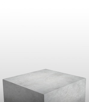 Product display stand made from grey concrete with white copyspace on top