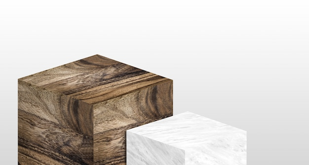 Product display stand made from white glossy marble and wood in two step with copy space