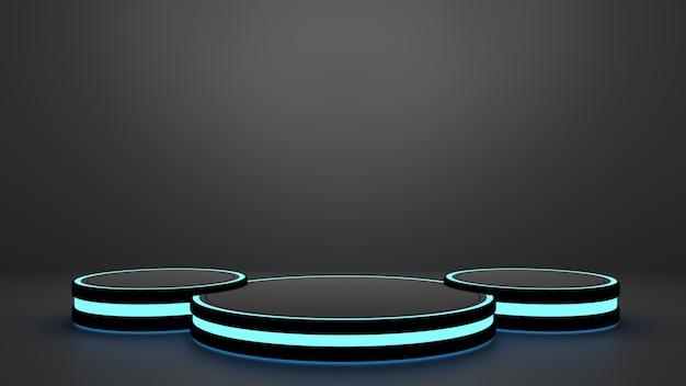 게임 및 기술 컨셉 컬러 네온 라이트 받침대가 있는 제품 디스플레이 트리플 연단