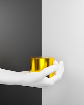 검은 색과 흰색 배경에 금 실린더를 들고 흰 손으로 제품 모형. 3d 렌더링