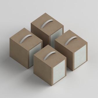 Расположение пакетов продуктов под большим углом