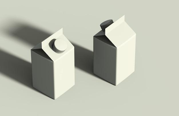 製品紙パックセットモックアップ白いカートンパッケージの等尺性レンダリング
