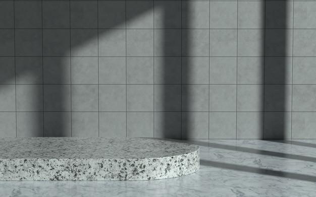 Продуктовый подиум в мраморной комнате с прямым солнечным светом. 3d иллюстрация