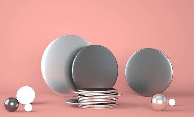 パステル背景3 dの製品表彰台。抽象的な最小限の幾何学の概念。スタジオスタンドプラットフォームのテーマ。
