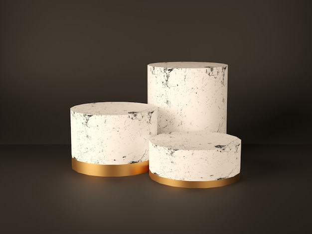 Product podium, stand, showcase, pink marble and gold texture