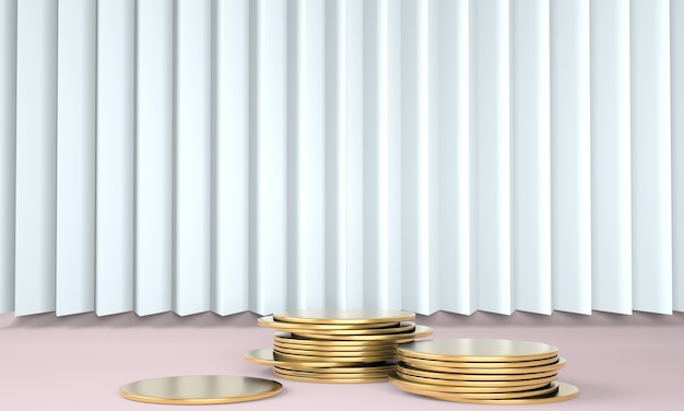 パステルカラーの背景3dにお金で製品表彰台
