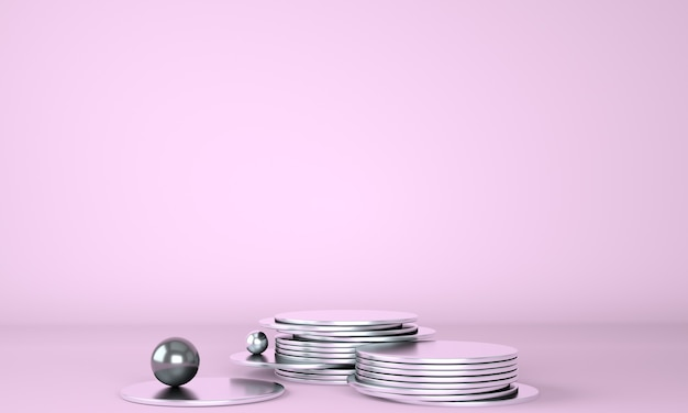 Product podium with money on pastel background 3d
