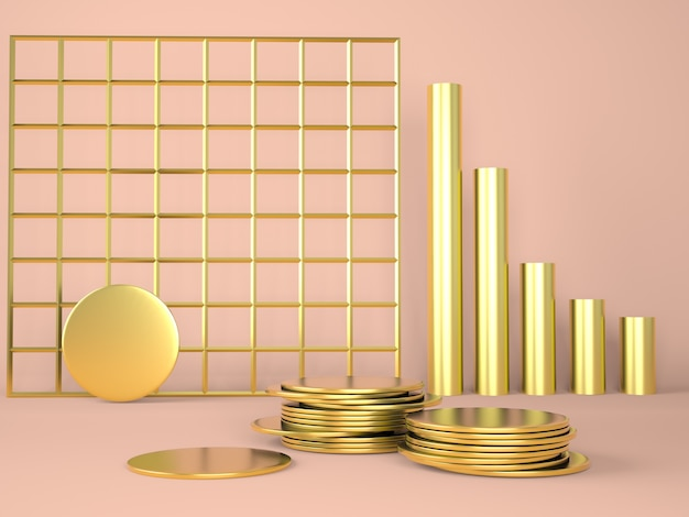 Product podium with money on pastel background.