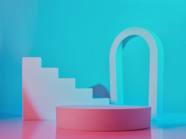 Product presentation podium with geometric shapes