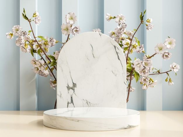 Product presentation podium with a marble background.3d rendering