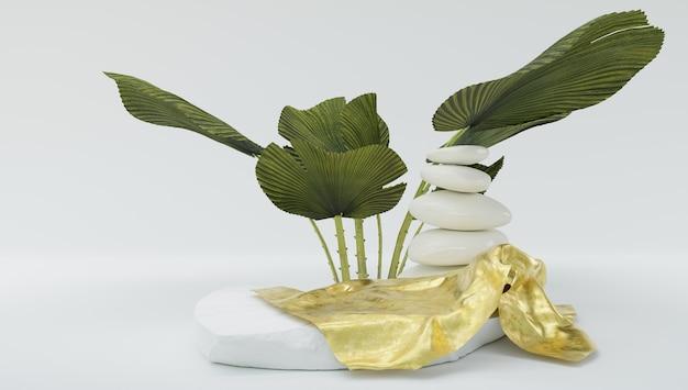 金色の布と植物を使った禅ジャパンディスタイルの石の製品サンプル