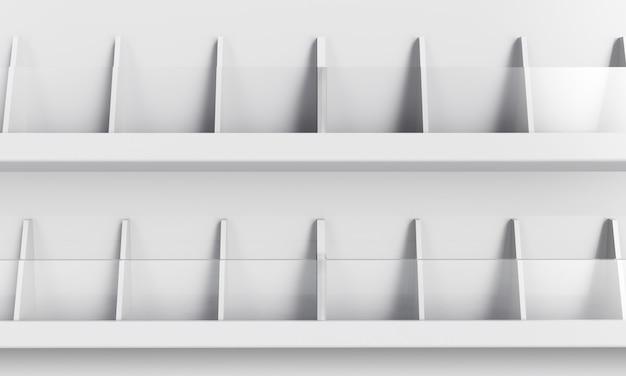 제품 선반 디스플레이 목업. 3d 렌더링