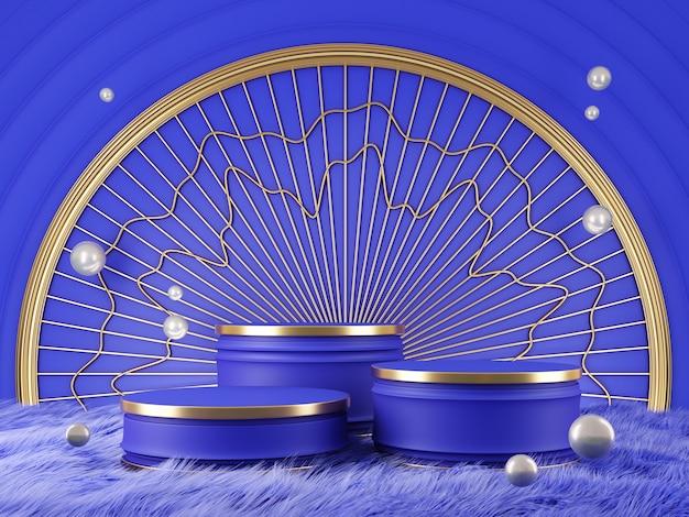 製品ショーケースブルーとゴールドカラー抽象コンセプト3dレンダリング