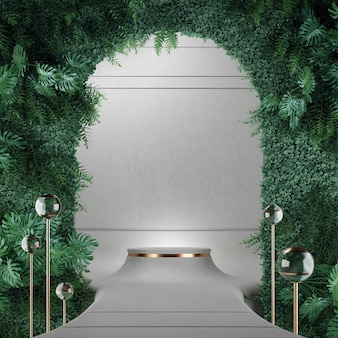 製品ショーケースグレーカラーと垂直ガーデン3drendering