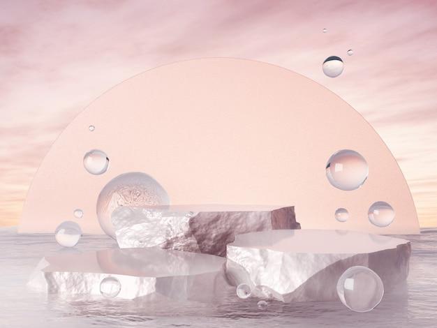 Витрина продукта розового жемчужного цвета и пузырьковая вода 3d-рендеринг