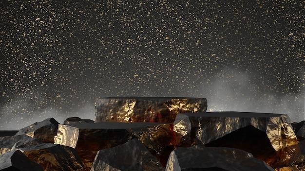 제품 쇼케이스 스톤 블랙 골드 컬러 3d 렌더링
