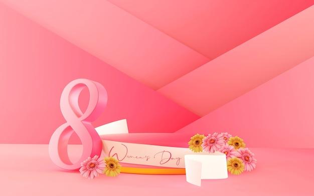 ナンバーフラワーとリボンの3dレンダリングによる国際女性デーの製品ステージ表彰台