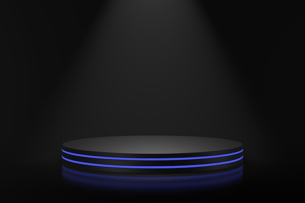 Product stand design with blue lighting. 3d rendering.