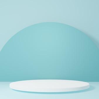 제품 최소 design3d 렌더링에 대한 블루 룸 스튜디오 장면의 제품 스탠드