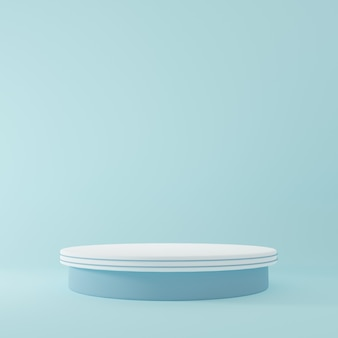 青い部屋の製品スタンド製品の最小限のデザインのスタジオシーン3dレンダリング