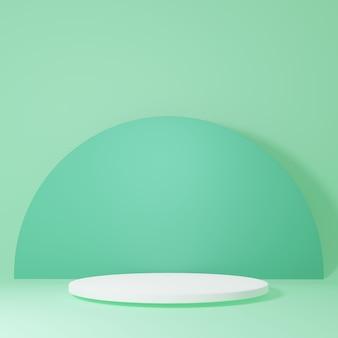 緑の部屋にある製品スタンド製品のスタジオシーン最小限のデザイン3dレンダリング