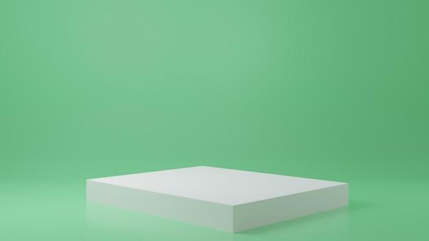 緑の部屋にある製品スタンド製品のスタジオシーン最小限のデザイン3dレンダリング Premium写真